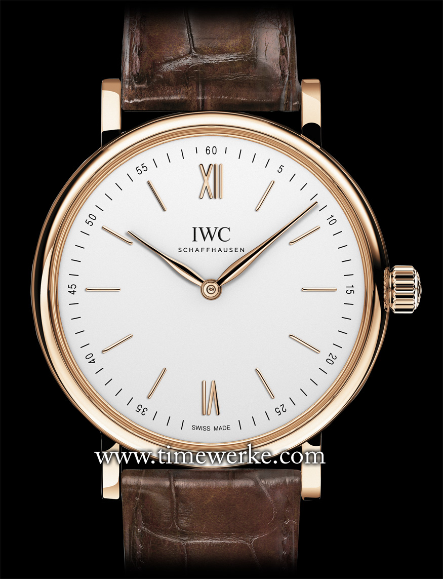 The IWC Portofino Hand-Wound Pure Classic (Ref. IW511101). Introduced in 2014, it is powered by the Calibre 59060 manual-winding movement with 192 hours or 8 days of power reserve and is housed in a 43.5mm diameter case in 18K red gold. The stainless steel version is the Ref. IW511102 (priced at SGD13,400). The gold piece shown here comes with a dark brown alligator leather strap made by Santoni and red gold pin buckle. Priced at SGD26,100 / MYR62,500. Photo: © IWC