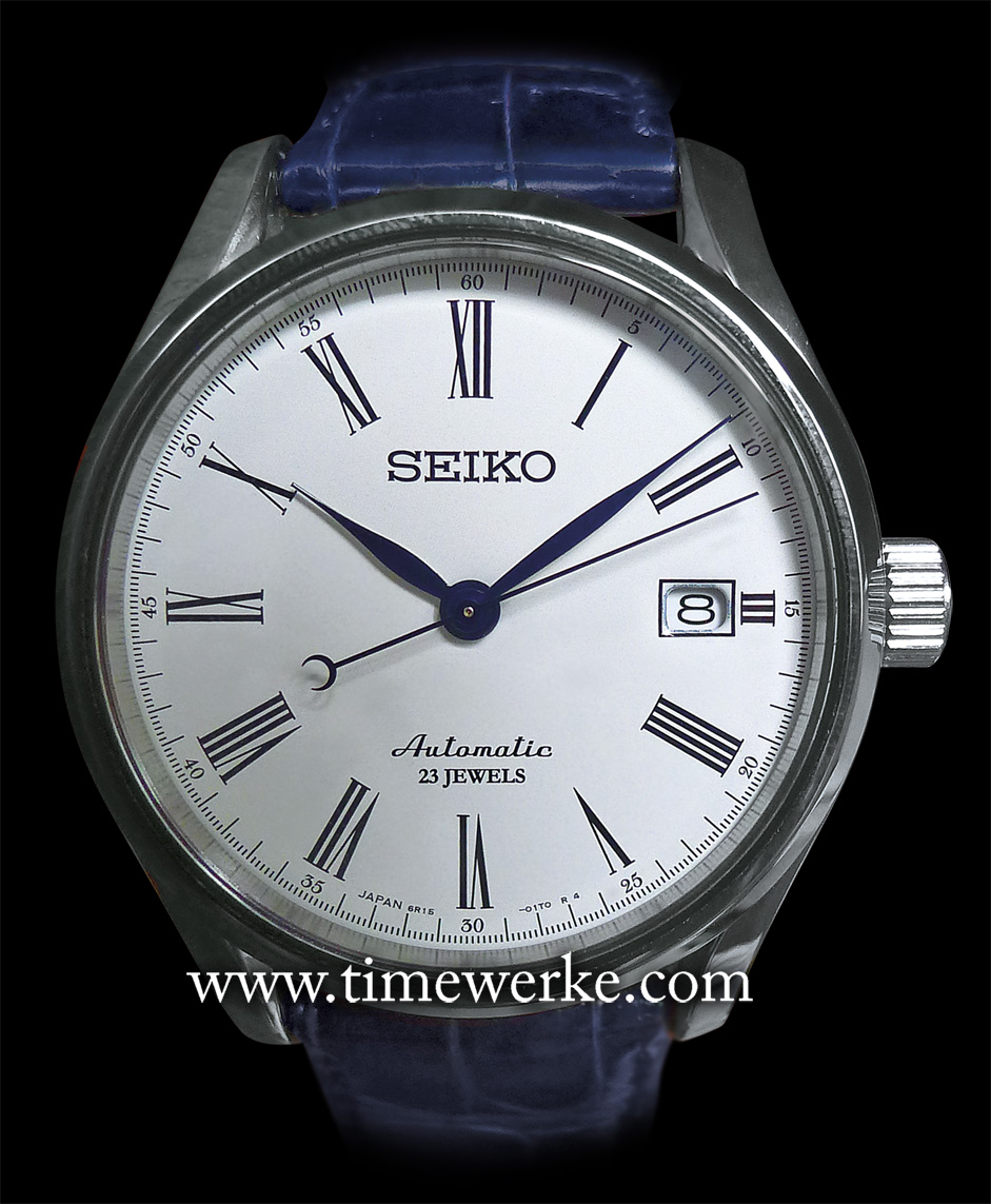 """This Seiko Presage SARX019 features the Calibre 6R15 automatic movement and an enamel dial. Priced at ¥80,000 (or around US$820 / EUR615 / SGD1,040 / MYR2,690). The main difference between this model and the Seiko Presage SARX011 100th Anniversary (launched in 2013) that commemorated the introduction of the first Seiko wristwatch (in 1913) is that the Roman numeral """"XII"""" for that piece is in red. Photo: © TANG Portfolio. Elfa / Timmy. Wako, Tokyo, Japan. 2014"""