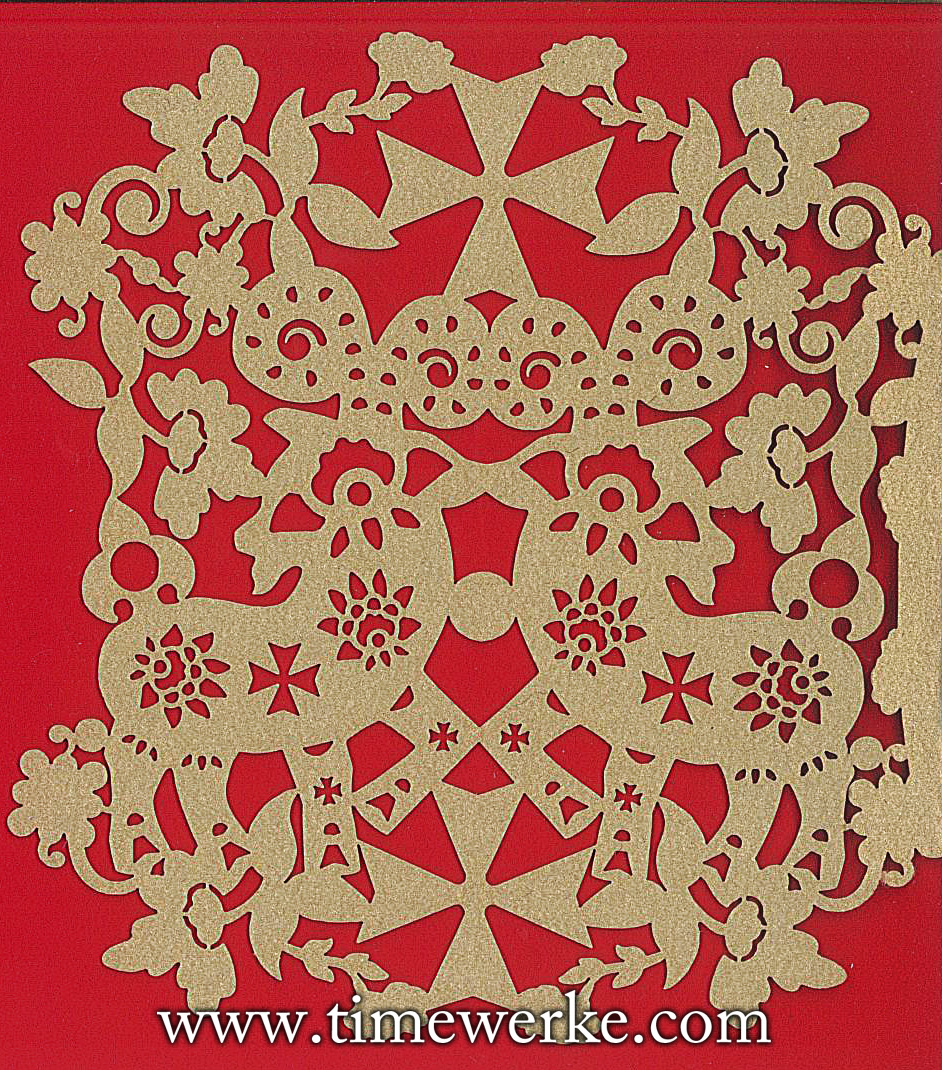 "Chinese ""paper cut-type"" decoration on the Chinese New Year greeting card by Vacheron Constantin. What colours do you see? How many Maltese crosses can you spot? More importantly, as 2015 is the Year of the Goat, can you make out the two goats? Image of Vacheron Constantin's Chinese New Year card provided by TANG Portfolio"