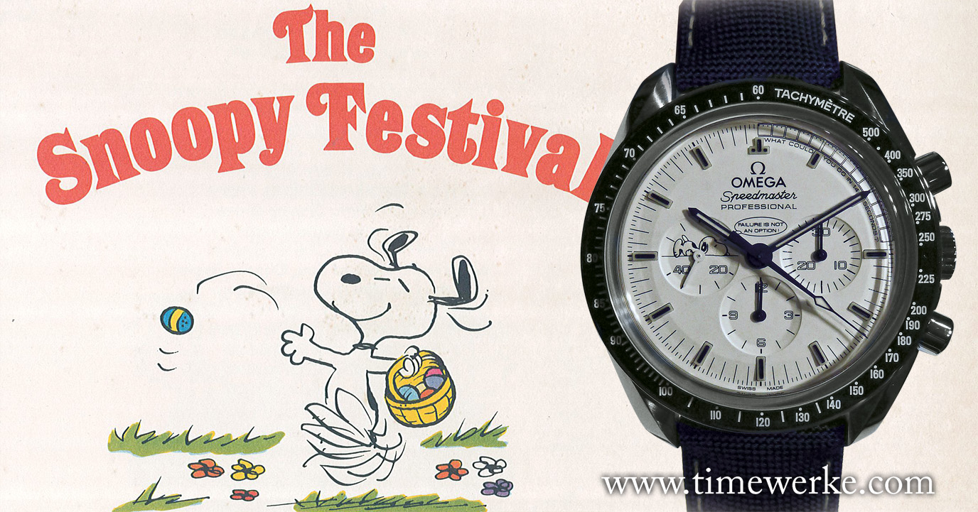 """The Omega Speedmaster Apollo 13 Silver Snoopy Award we saw at BaselWorld and a page from the comic book """"The Snoopy Festival"""" by Charles M. Schulz printed in around 1974. Happy Easter!. Photo: © TANG Portfolio"""