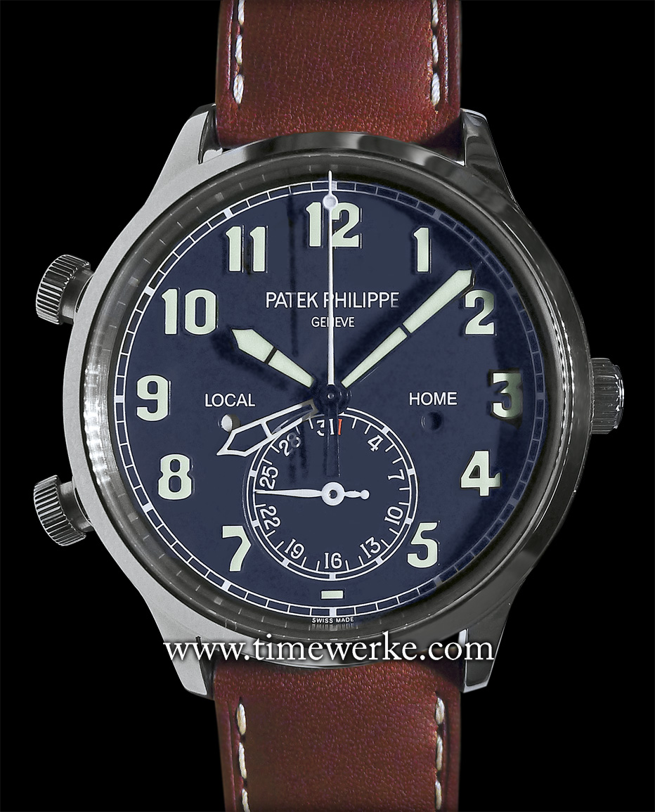 Patek Philippe Calatrava Pilot Travel Time Ref. 5524. Introduced at the 2015 BaselWorld annual watch fair. It features a blue-lacquered brass dial and is powered by the Calibre CH 324 S C FUS automatic movement housed in an 18K white gold case. Priced at around CHF42,000 / US$48,000 / MYR147,900 / SGD62,000. Prices are approximate and correct at the time of writing. Photo: © TANG Portfolio. Elfa / Timmy. 2015 BaselWorld