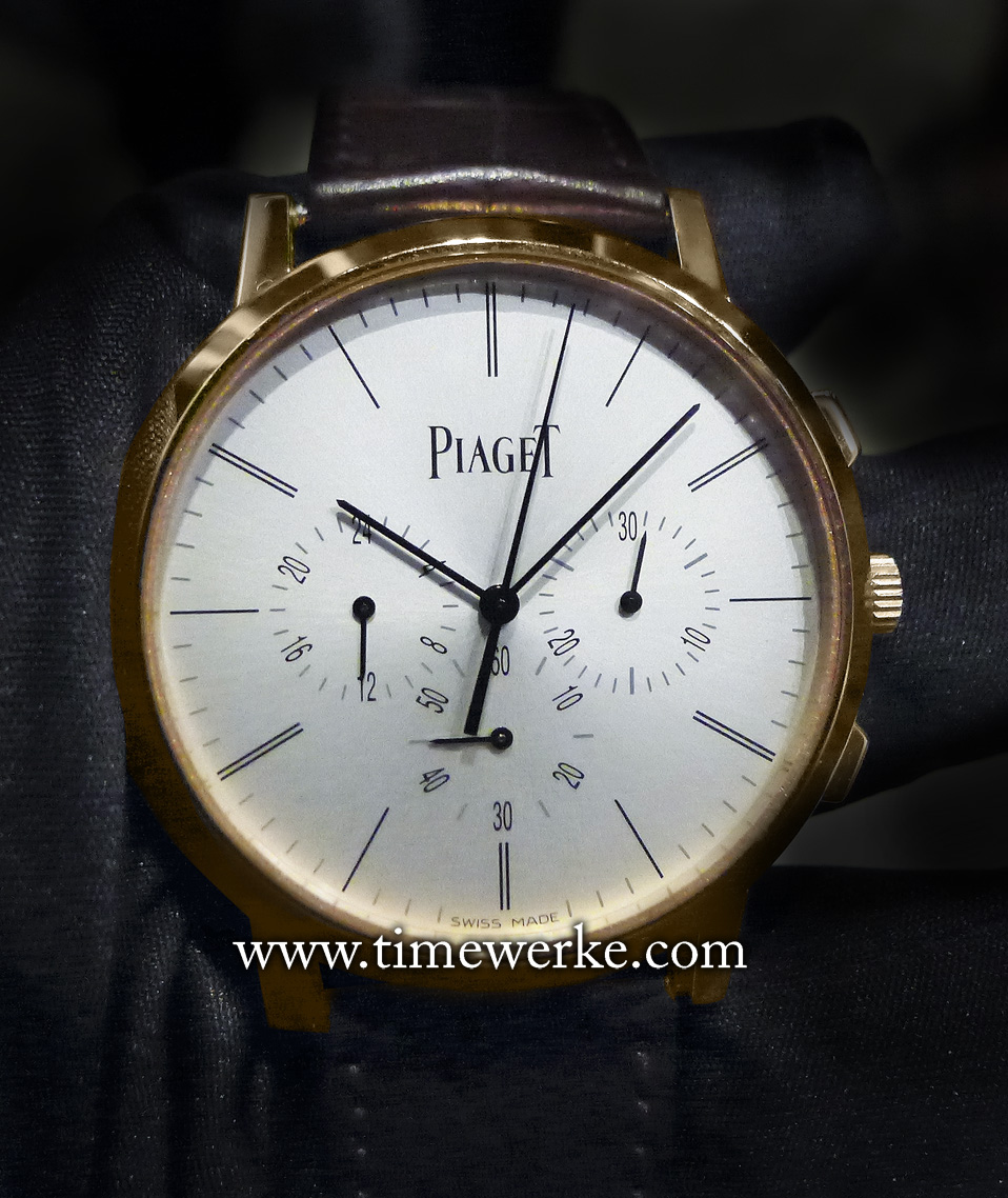 Piaget Altiplano Chronograph. Introduced in 2015. It houses the Piaget Calibre 883P manual-winding movement that is 4.65mm thick with 50 hours of power reserve and comes in a 41mm diameter 18K pink gold case that is 8.24mm thick. The Piaget Altiplano Chronograph features the flyback chronograph and a second time zone display. At the time of its launch in January 2015, Piaget laid its claim as having the world's thinnest chronograph flyback movement and chronograph flyback watch. Photo: © TANG Portfolio. 2015 Salon International de la Haute Horlogerie. Special thanks to Angela Tea