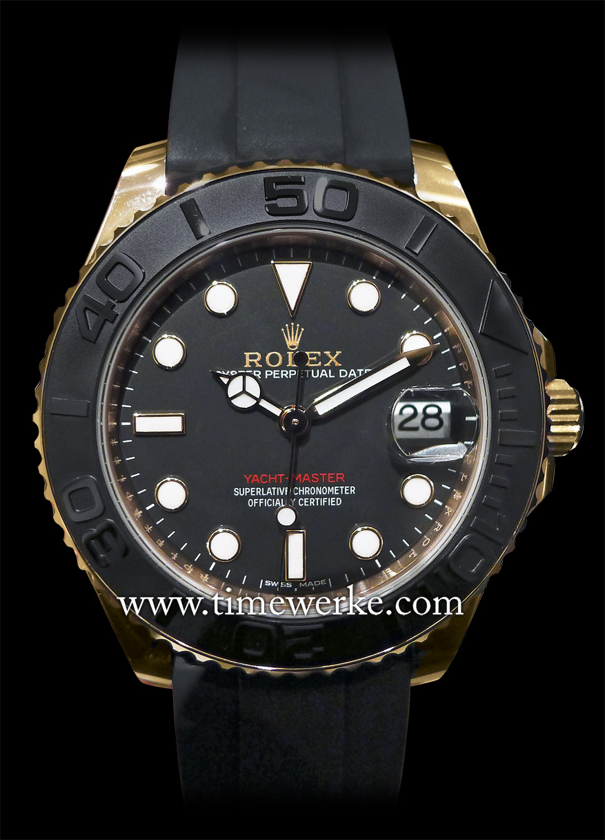 The Rolex Oyster Perpetual Yacht-Master (Reference 116655) introduced in 2015, features a black dial and the Calibre 3135 automatic movement in a 40mm case in 18K Everose gold. The black ceramic bezel has matt black Cerachrom inserts. Two versions are available: one in 40mm and the other in 37mm (Reference 268655). Shown above is the 40mm model and it is priced at CHF23,800. Photo: © TANG Portfolio. Elfa / Timmy. 2015 BaselWorld