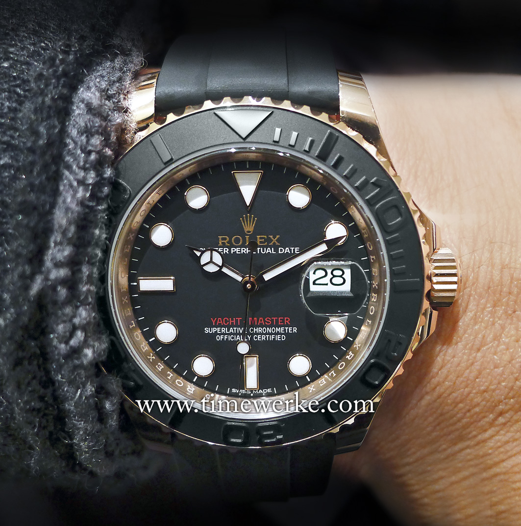 The 2015 Yacht-Master has a bi-directional rotating bezel featuring the matt black Cerachrom insert paired with a matching black dial that is said to be a first for this model. Photo: © TANG Portfolio. Elfa / Timmy. 2015 BaselWorld