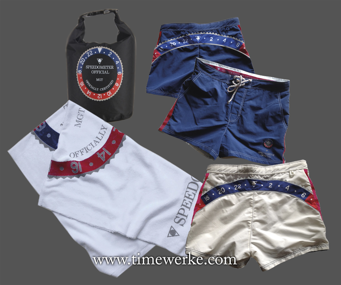 Speedometer Official's swim trunks bears the brand's bezel-like logo on the front and from the rear, part of the Pepsi-Cola bezel. The Speedometer Official swim trunks, priced at EUR85, comes with a large beach towel and a waterproof swim bag. The swim trunks are available in either white or blue.Speedometer Official is from Swift Company Srl which is based in Torino, Italy. Photos: © Speedometer Official