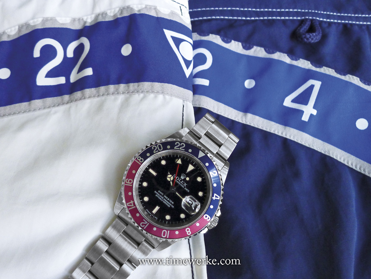 The author's Speedometer Official white swim trunks (left) and blue swim trunks (right). The Speedometer Official design has a circle in the triangular marker. Whether in white or blue, these swim trunks are the perfect accompaniment to the Rolex GMT-Master. Photo: © TANG Portfolio
