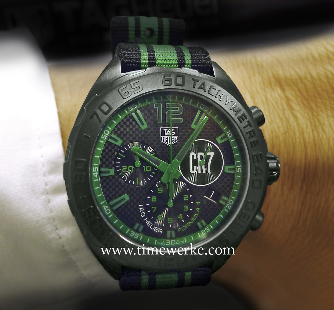 TAG Heuer Formula 1 Cristiano Ronaldo. Introduced in 2015, the green on this quartz watch (powered bythe Ronda 5040D) is inspired by the grass of the football pitch. It has a black chequered dial and the Cristiano Ronaldo's CR7 logo at the sub-dial at 3 o'clock for the continuous sweep seconds. Photo: © TANG Portfolio
