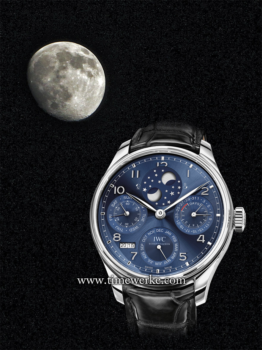 The IWC Portugieser Perpetual Calendar Ref. 503401 features a midnight blue dial, the double moon display. A new design element is the railway track style chapter ring that is inspired by the original Portugieser. The image of the actual Moon and the actual night sky with stars was taken on 28 July 2015 at around 10pm as viewed from Singapore. The Moon is in a waxing gibbous phase and is approaching its full moon phase. Image of IWC watch: © IWC. Photo of Moon: © TANG Portfolio. Elfa / Timmy. July 2015