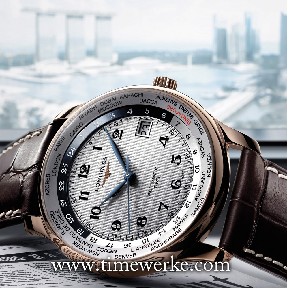 Longines Master Collection GMT Singapore – 50th Anniversary of Independence. Introduced in 2015, the 38.5mm 18K rose gold case houses the Calibre L635.6 automatic movement (ETA 2824/2) and works like a world time watch with 24 time zones. The city of Singapore is in red. This commemorative timepiece paying tribute to Singapore's 50th year of independence is limited to 50 pieces. Photo: © Longines