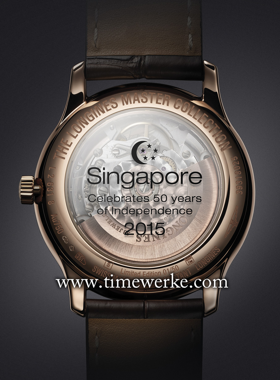"Printed on the transparent sapphire case back: ""Singapore celebrates 50 years of independence 2015"" with the image of the moon crescent with five stars which are symbols for Singapore's flag. Photo: © Longines"