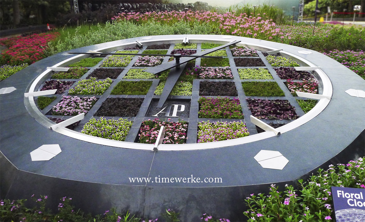 """Officially unveiled on 4 August 2015 at 6pm, the Audemars Piguet Floral Clock at Gardens by the Bay in Singapore. With this, Audemars Piguet lays its claim to having the largest floral clock in Singapore. Note the distinctive shape of the Royal Oak along with the tapisserie dial and hexagonal bezel. Flowers planted on the """"tapisserie dial"""" include the Torenia fournieri (Madagascar Periwinkle) and the Gomphrena globose (Bachelor's button). Photo: © TANG Portfolio"""