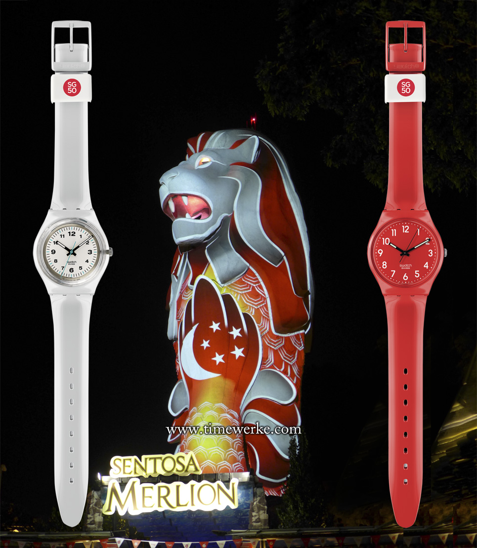 Left-to-right: Swatch Across the Town / SG50 (SKK1000F), the 37-metre Sentosa Merlion and the Swatch Cherry-Berry / SG50 (GR154N) Special Edition. The two Swatch special editions feature either the red or white colours of Singapore's national flag and both have a white loop with the SG50 logo commemorating the nation's 50th anniversary of its independence (1965 to 2015). The two Swatch watches are each priced at SGD69. The Sentosa Merlion, designed by Australian sculptor James Martin, was completed in 1995 and thus celebrates its 20th birthday in 2015. Photo of Sentosa Merlion: © TANG Portfolio. Image of the Sentosa Merlion lighted up with Singapore's national flag colours and symbols taken on 8 August 2015 at 9pm. Photo of the two Swatch special edition watches: © Swatch