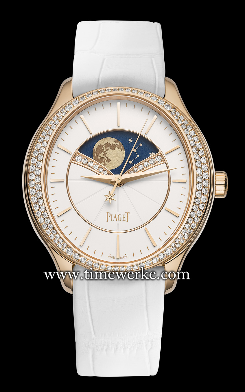 "The Piaget Limelight Stella watch features what the brand says is its ""first complication watch specifically dedicated to women"". Powered by the Piaget 584P automatic movement, it features the large moon phase display with the bezel set with 126 brilliant-cut diamonds (approx. 0.65 carats) and a moon phase window lined with 14 diamonds (approx. 0.06 carats). Photo: © Piaget"