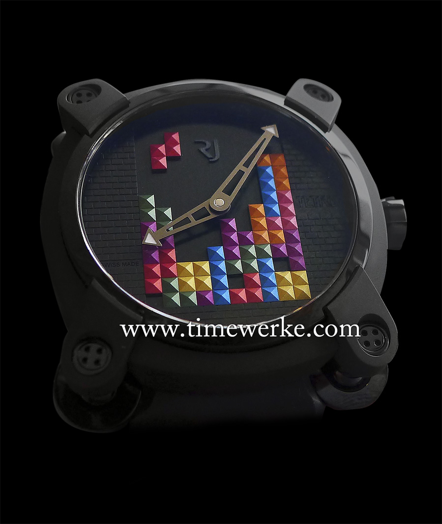"""The RJ-Romain-Jerome Tetris-DNA watch is a commemorative piece that celebrates the 30th anniversary of the first release of the Tetris game in 1984 (1984 to 2014). Launched in mid 2015, the matrix dial features aluminium """"Tetriminos"""" in """"Clous de Paris"""" or pyramidal shapes. Limited to 84 pieces and priced at  CHF15,555 / EUR17,500 / US$18,950. Photo: © TANG Portfolio. Elfa / Timmy 2015"""