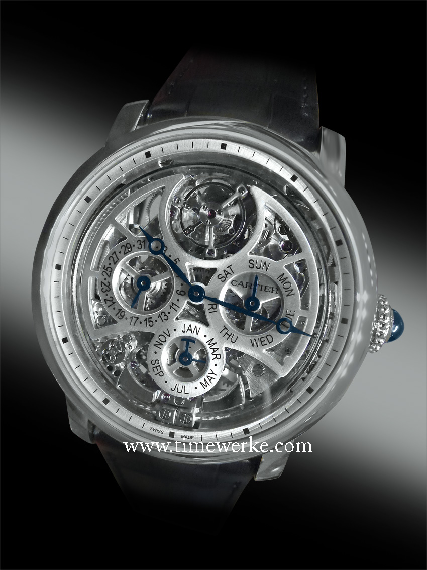 Rotonde de Cartier Grande Complication Skeleton watch. Introduced in 2015, it houses the Calibre 9406 automatic movement that comprises 578 components. The Calibre 9406 self-winding movement required 5 years of development time, 15 weeks of production time at the Cartier Manufacture, 10 weeks of decoration and finishing work and 5 weeks of assembly time. The skeleton movement is certified Poinçon de Genève and has approximately 50 hours power reserve after being fully wound. The Rotonde de Cartier Grande Complication skeleton watch features the minute repeater, flying tourbillon and perpetual calendar. Its 45mm diameter case is in 950 platinum and is 12.6mm thick. Priced at US$620,000. Photo: © TANG Portfolio. Elfa / Timmy. 2015 Salon International de la Haute Horlogerie
