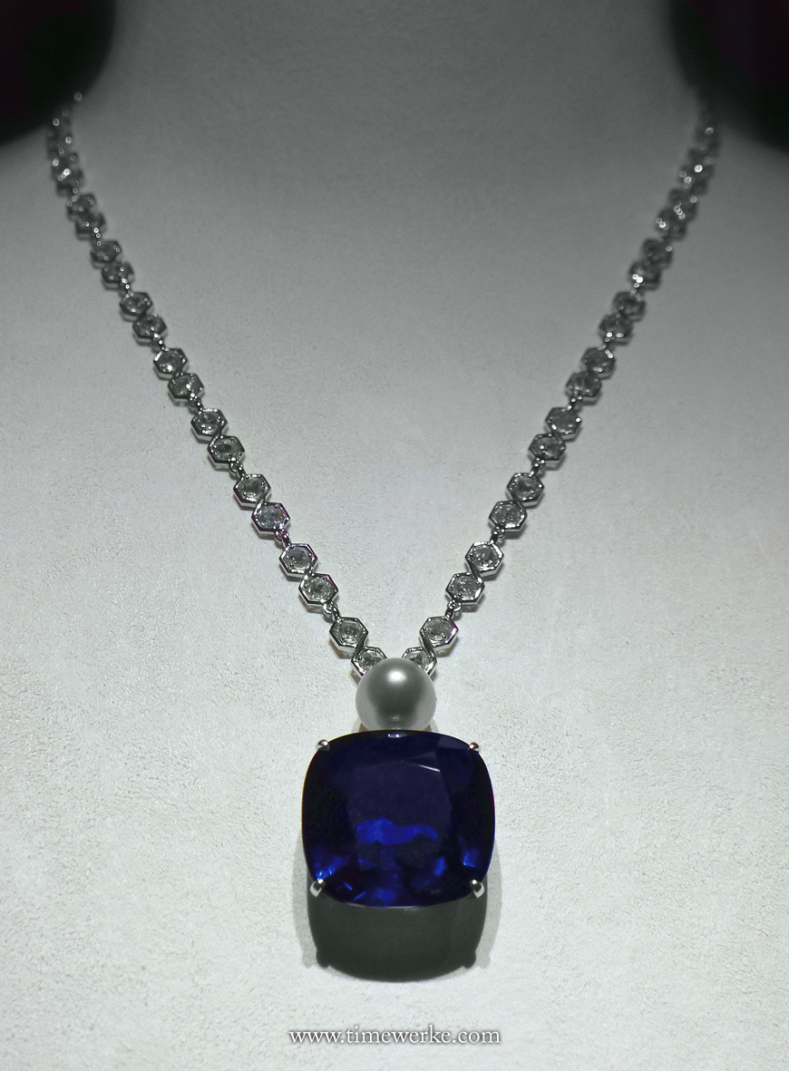 This is an eye-catching necklace with the extremely rare 44.47-carat cushion-shaped blue Burmese sapphire. It is believed that it could have originated from the legendary Mogok mines located in Myanmar (formerly known as Burma) where some of the world's most beautiful gems have been discovered. Photo: © TANG Portfolio