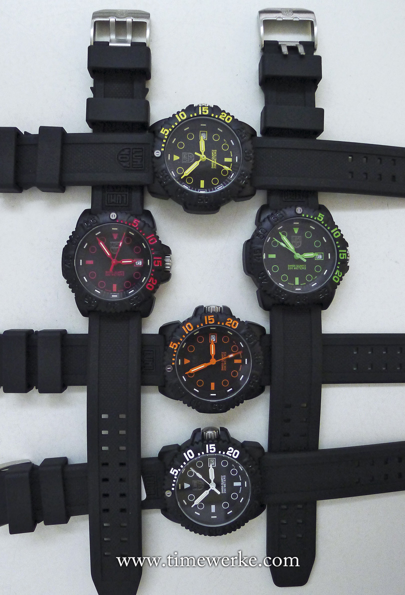 The Luminox Navy SEAL Colormark Nova prototypes as seen in July 2015. Five colours will be made available. The Luminox Navy SEAL Colormark Nova resulted from a collaboration between Crystal Time and Luminox. : © TANG Portfolio. July 2015