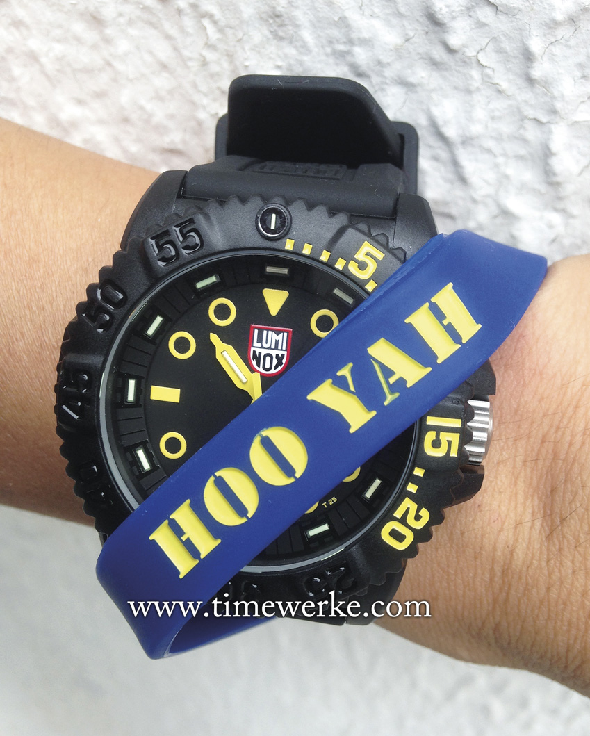 "The Luminox Navy SEAL Colormark Nova is a new addition and extension to the brand's core Colormark Collection. A preview for the Navy SEAL Colormark Nova was held in Langkawi, Malaysia in September 2015 and it was organized by Crystal Time, distributors for the brand in Singapore, Malaysia and Brunei. Strapped over the watch: The SEAL Team Physical Training rubber strap with the words: ""Hooyah"" given by its CEO John McGuire. Photo: © TANG Portfolio. Elfa / Timmy. Langkawi, Malaysia 2015"