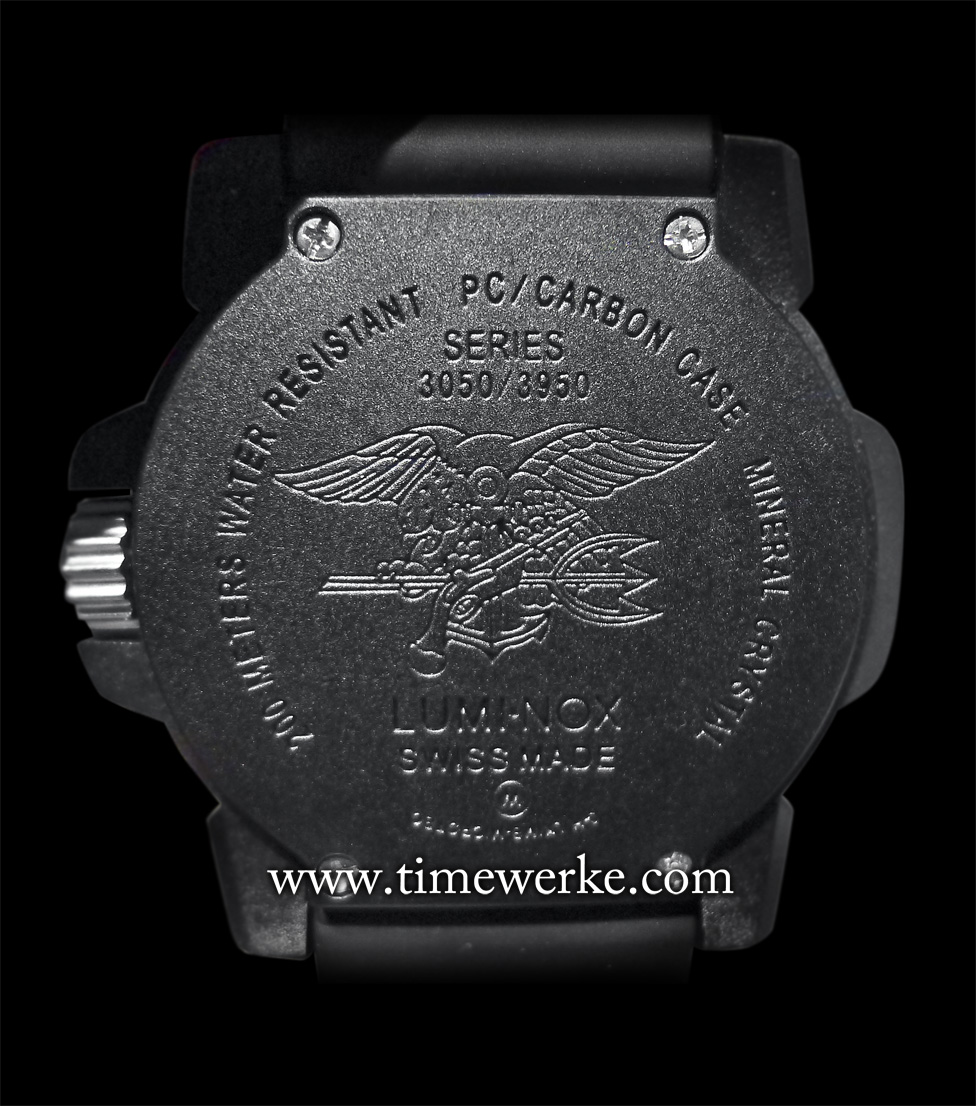 "The US Navy SEAL Trident logo or ""Budweiser"" is engraved on the case back of the Luminox Navy SEAL Colormark Nova which features a mineral glass case and is water-resistant to 200m. The 2015 ANU Series (Authorised for Navy Use) such as the ANU Chronograph 4240 does not carry the Navy SEAL logo but a modified version. Photo: © TANG Portfolio"