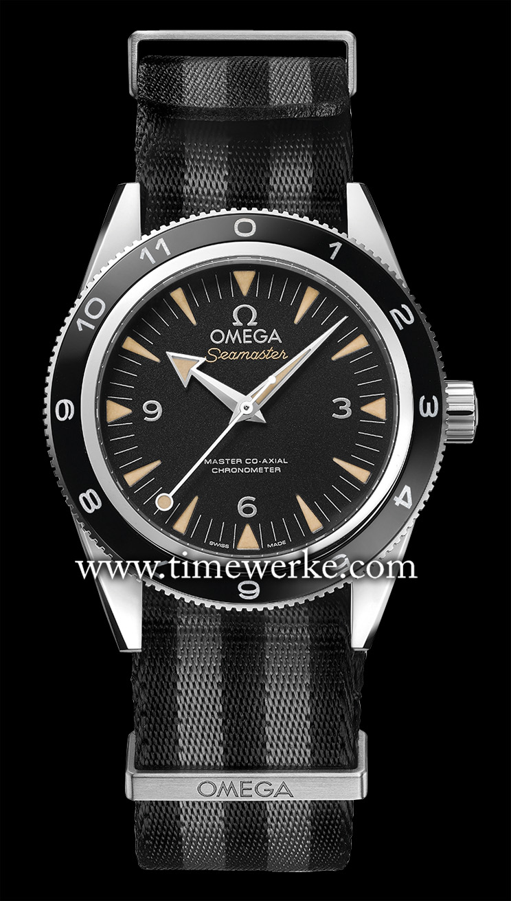 """Omega Seamaster 300 """"Spectre"""" Limited Edition. Powered by the Calibre 8400 automatic movement with Co-Axial Escapement, this 41mm Seamaster marks a first for the partnership between Omega and the James Bond movie franchise. This is the first time a model that is worn by James Bond (played by Daniel Craig) in the movie (the 2015 Spectre) is also offered for sale and as a limited edition production. Limited to 7,007 pieces, the Seamaster 300 """"Spectre"""" is water-resistant to 300 metres. Priced at SGD9,800. Photo: © Omega"""