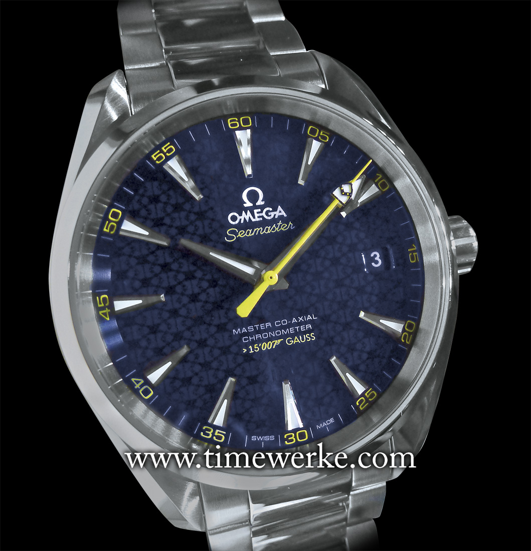 "Omega Seamaster Aqua Terra ""James Bond"". This is Omega's commemorative timepiece that ties in with the 24th James Bond movie, Spectre (2015). Introduced in 2015, its 41.5mm diameter case in stainless steel houses the Calibre 8507 automatic movement with Co-Axial Escapement. The dial is inspired by the Bond family's coat of arms. The tip of the sweep seconds hand also bears the Bond family coat of arms. This Seamaster Aqua Terra ""James Bond"" is resistant to magnetic fields of 15,000 Gauss. Limited to 15,007 pieces. Priced at SGD9,500 inclusive of tax. Photo: © TANG Portfolio. Elfa / Timmy. BaselWorld 2015."
