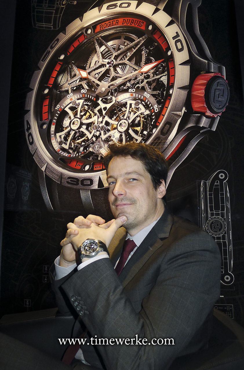 Gregory Bruttin, Director, Movement Development, Roger Dubuis. Photo: © TANG Portfolio. Elfa / Timmy. 2015 Salon International de la Haute Horlogerie.