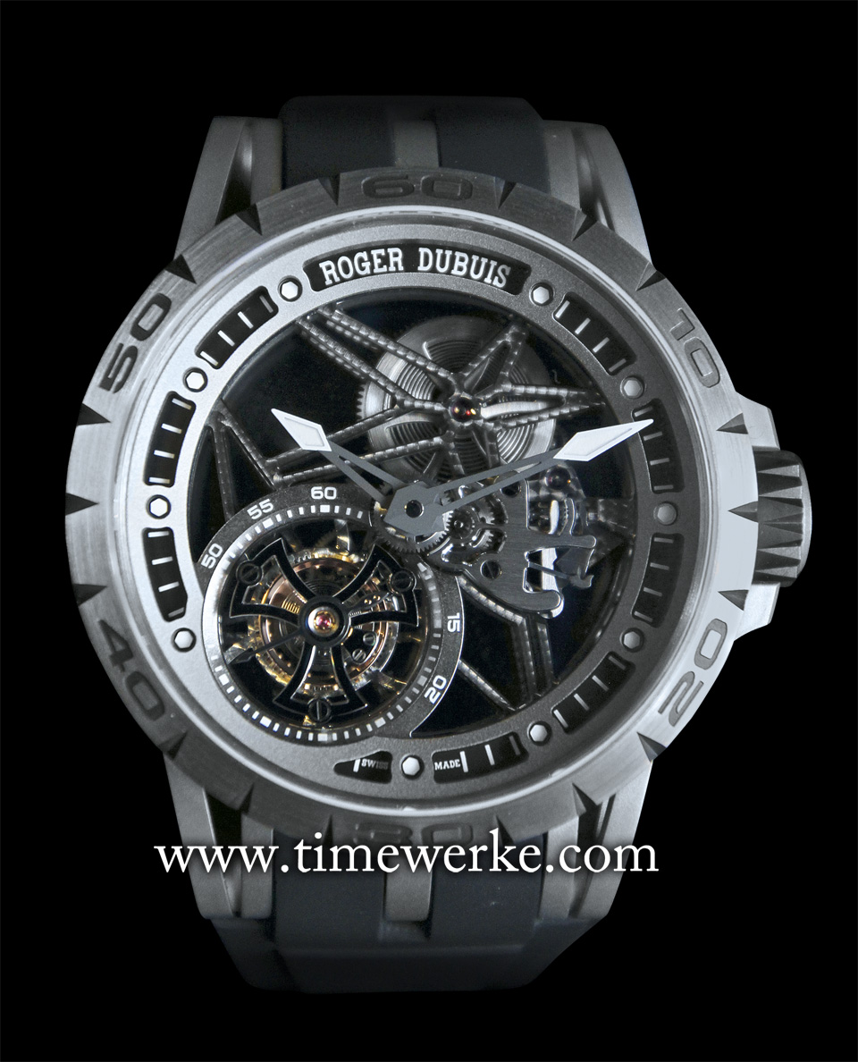 Roger Dubuis Excalibur Spider Skeleton Flying Tourbillon. Introduced in 2015 and powered by the Calibre RD5505SQ manual-winding skeleton movement that is Geneva Seal-hallmarked. The 42mm diameter case is in black DLC (Diamond-Like Carbon) titanium. The case and flange are also skeletonized. Photo: © TANG Portfolio. Elfa / Timmy. 2015 Salon International de la Haute Horlogerie.