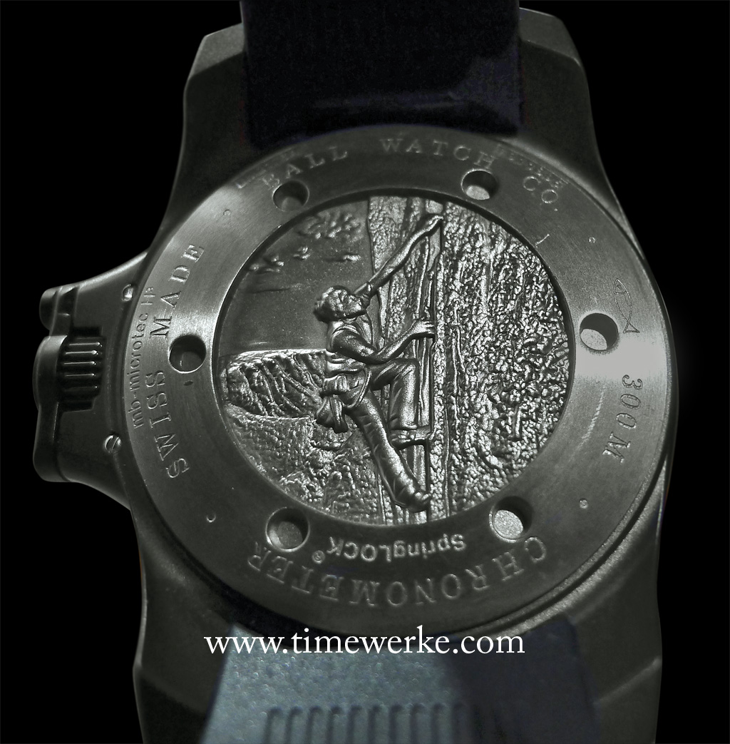Case back of the Ball Watch Engineer Hydrocarbon Black. It features the engraving of the death-defying American free solo rock climber Alex Honnold scaling a vertical rock face. Take note of the patented Ball Watch crown protection system used for its Engineer Hydrocarbon collection. Through the text engraved, one will know that this Engineer Hydrocarbon Black is chronometer-certified, features the SpringLOCK anti-shock system and is water-resistant to 300m. Photo: © TANG Portfolio. Elfa / Timmy. 2015.
