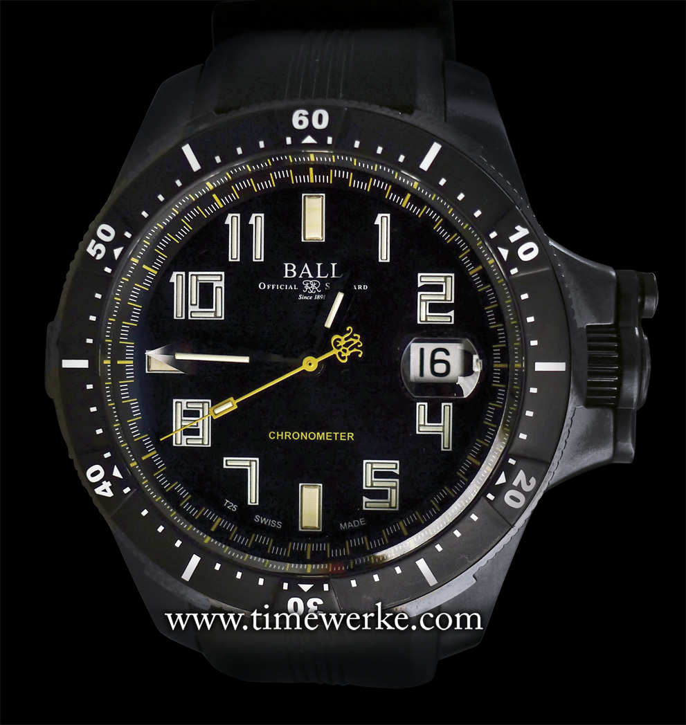 Ball Watch Engineer Hydrocarbon Black. Introduced in 2013, it utilizes the ETA 2892-A2 automatic movement and it is chronometer-certified. Moreover, it is equipped with Ball Watch's patented SpringLOCK anti-shock system. There is the magnified date display (a la Cyclops lens) at 3 o'clock. The watch is extremely lightweight as it comes in a 42mm diameter titanium case with DLC coating. The Engineer Hydrocarbon black has a 5.3mm diameter anti-reflective sapphire crystal and it is water-resistant to 300m / 1,000 ft. The Ball Watch Engineer Hydrocarbon Black was developed for one of the brand's ambassadors, the death-defying free solo rock climber Alex Honnold. Photo: © TANG Portfolio. Elfa / Timmy. 2014.