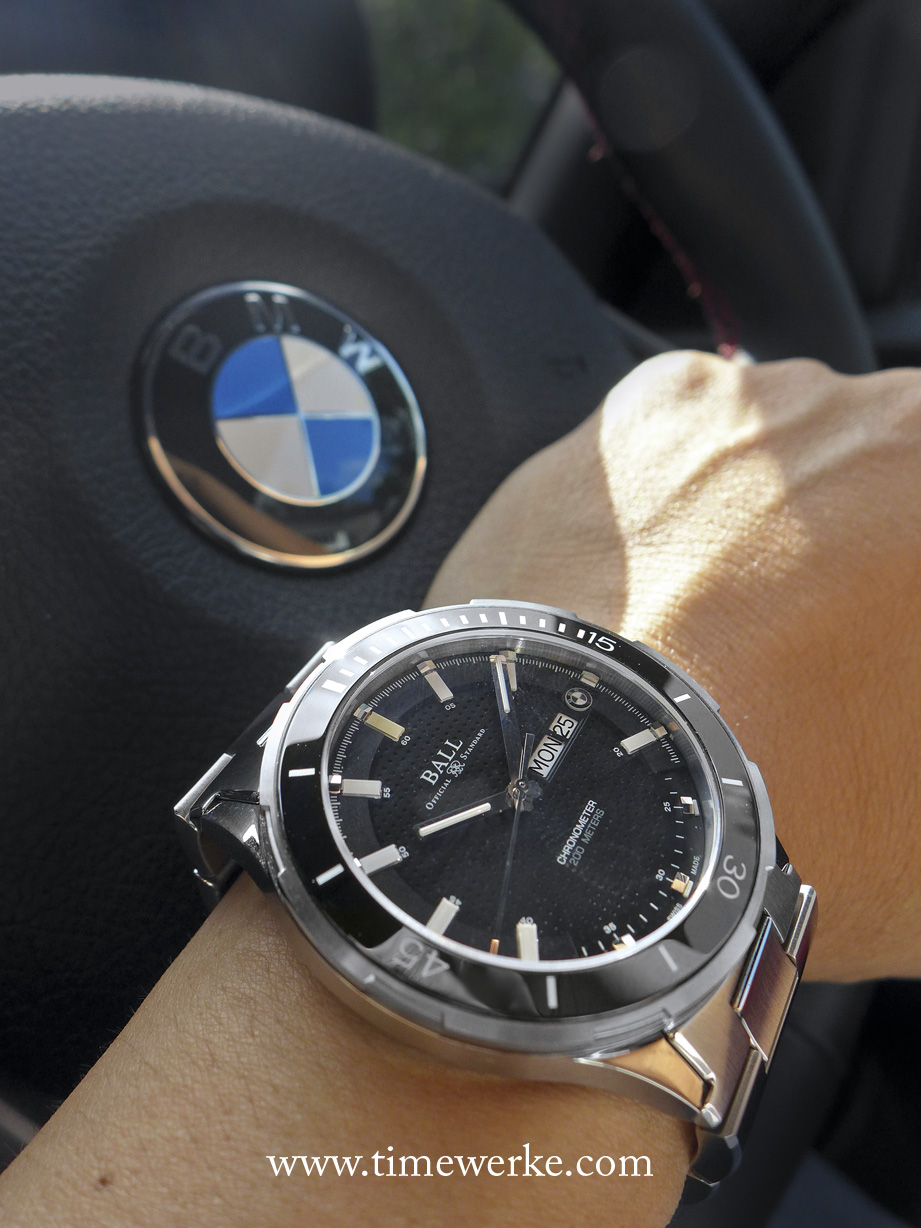 Ball for BMW TimeTrekker. Introduced in 2015, its Calibre Ball RR1102-C automatic movement is Chronometer-certified and it is housed in a 44mm diameter case in stainless steel which is water-resistant to 200m / 660ft. The crown is screwed-in. There are 14 micro-gas tubes on the hour and minute hands including the dial for enhanced night reading capability. It features the day and date displays and is anti-magnetic to 4,800 A/m. Available in either a black or blue dial and with either a rubberized leather strap with pin buckle or stainless steel bracelet. Priced at SGD4,200 inclusive of tax. Photo: TANG Portfolio. Elfa / Timmy. 2015. Special thanks to Performance Motors and BMW Group Asia.