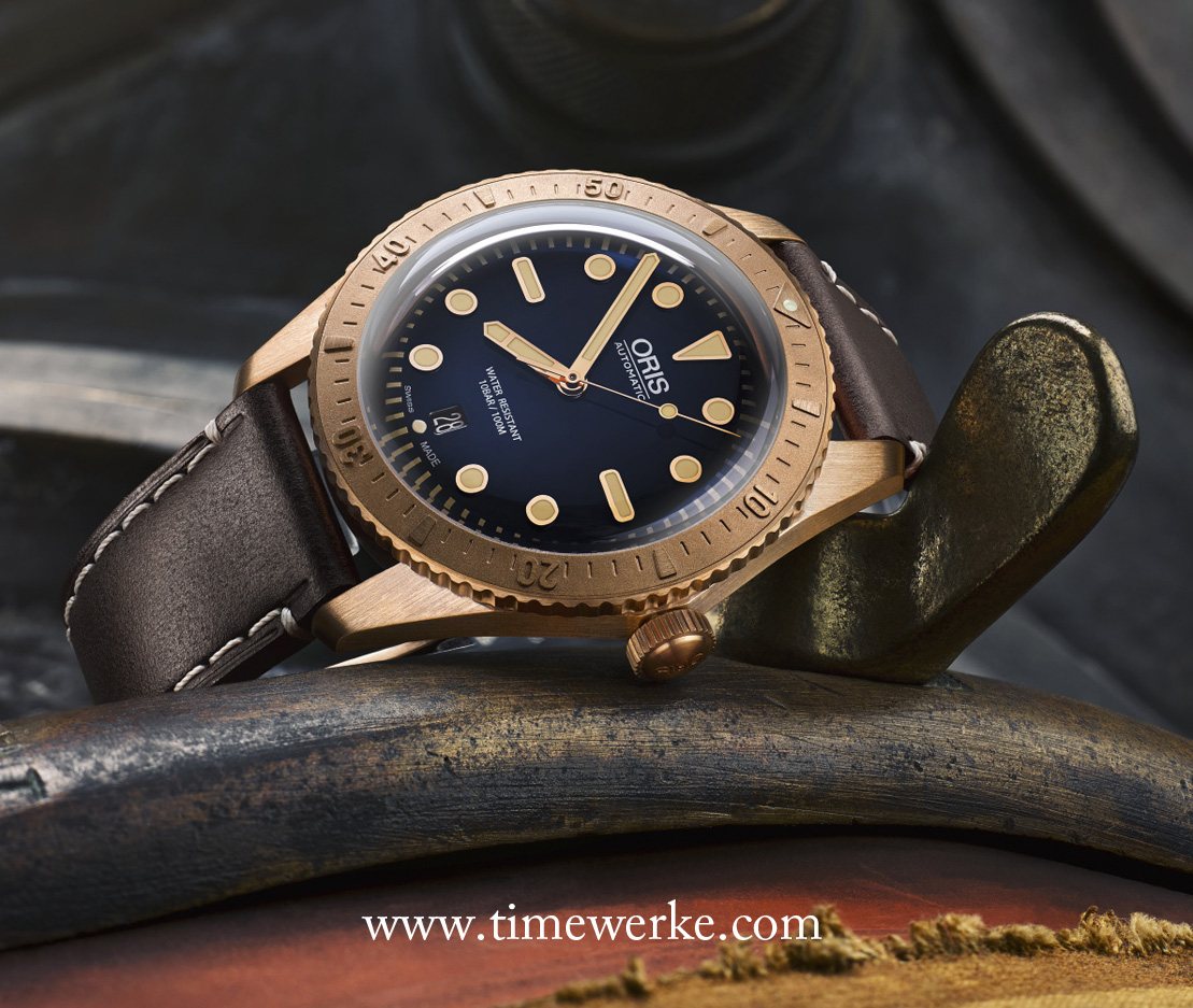 Oris Carl Brashear Limited Edition. Launched in 2016, it features a 42mm diameter case and unidirectional bezel made in bronze. It is powered by the Calibre 733 base Sellita SW200 automatic movement. This Oris Carl Brashear Limited Edition has a domed sapphire crystal and is water-resistant to 100 metres. Limited to 2,000 pieces, its recommended retail price is CHF2,600. Photo: © Oris