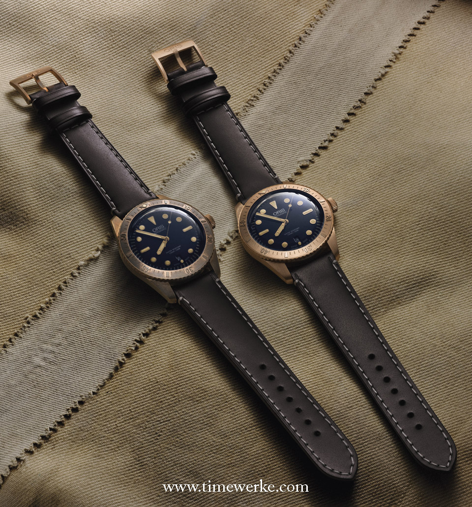 "For the Oris Carl Brashear bronze watch, the brand highlights that bronze will initially be bright and shiny (Oris Carl Brashear on the right) but will darken as its copper content ""reacts with carbon dioxide and moisture"" (Oris Carl Brashear  on the left). A dullish but unique patina will form over time and how it develops depends very much upon its wearer. Photo: © Oris."