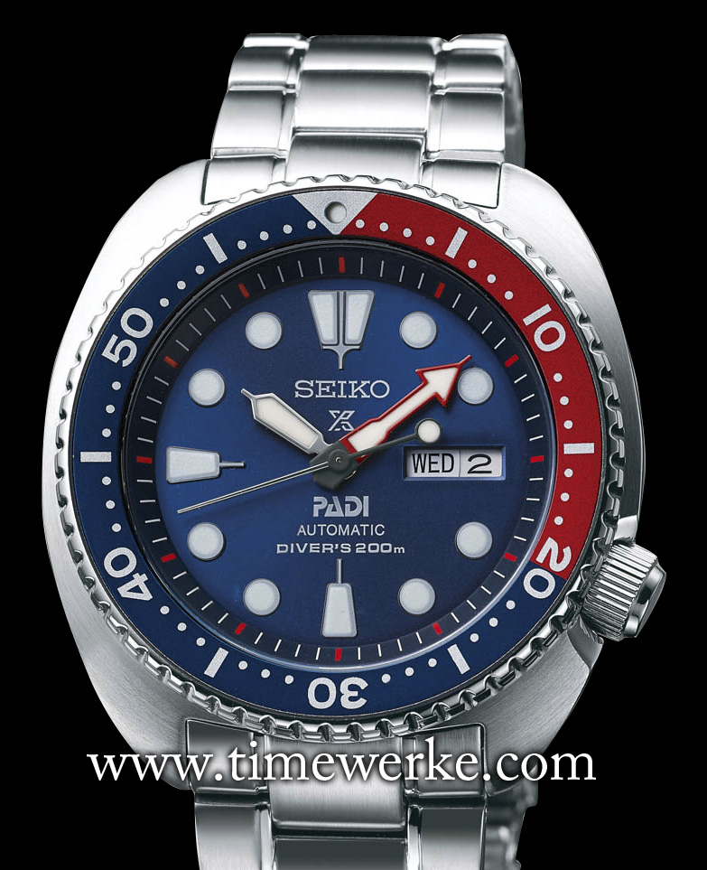 The Seiko Prospex PADI Special Edition Automatic Diver's SRPA21 was made to commemorate the brand's partnership with PADI (Professional Association of Dive Instructors). Its 45mm diameter case in stainless steel houses the Calibre 4R36 automatic movement and is water-resistant to 200 metres. Recommended retail price: EUR430. Photo: © Seiko