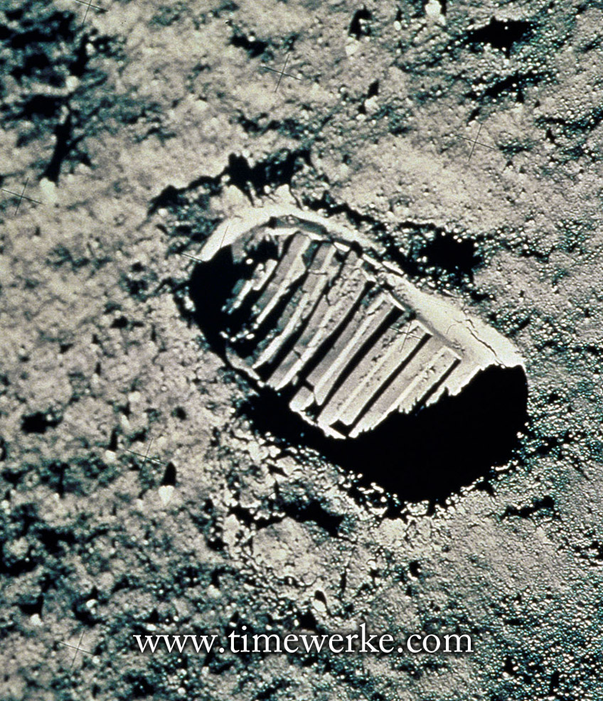 Neil Armstrong's footprint on the Moon. Photo courtesy of Omega.