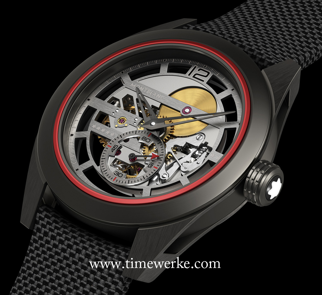 The Montblanc TimeWalker Pythagore Ultra-Light Concept, introduced in 2016 and dedicated to professional badminton player, Lin Dan, weighs 14.88 grams. This TimeWalker Pythagore Ultra-Light Concept is considered as one of the lightest mechanical watches in the world. The middle case is made of the mix between Innovative, Technical Revolutionary Resin and Kevlar/carbon. Innovative, Technical Revolutionary Resin or ITR2 is a composite material charged with carbon nanotubes and it is eight times lighter than steel and four times lighter than titanium. The use of such materials marks a world premiere in case-making. Photo: © Montblanc.