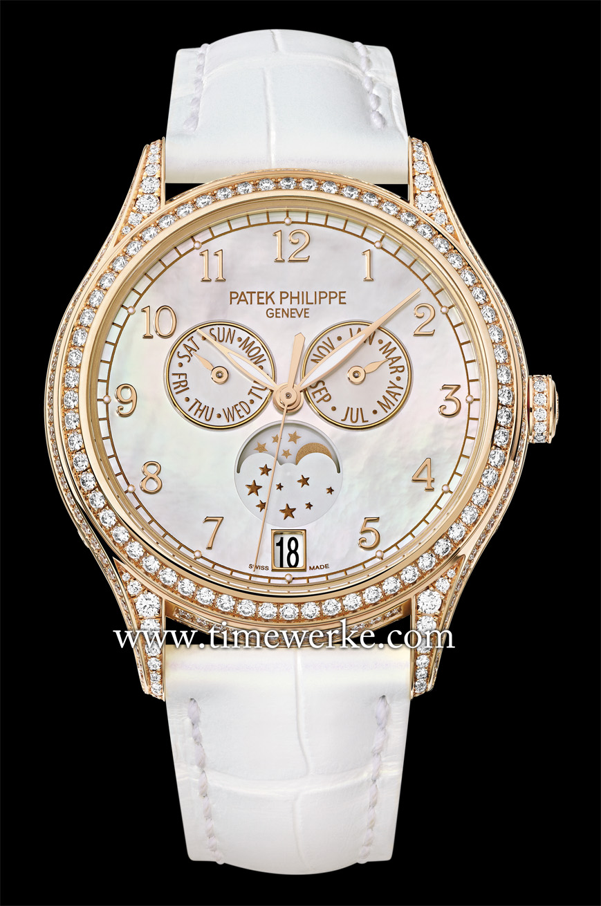 Patek Philippe Ref. 4948R Annual Calendar in 18K rose gold with a white Balinese mother-of-pearl dial. The Ref. 4948 replaces the Ref. 4937 Annual Calendar. Photo: © Patek Philippe.