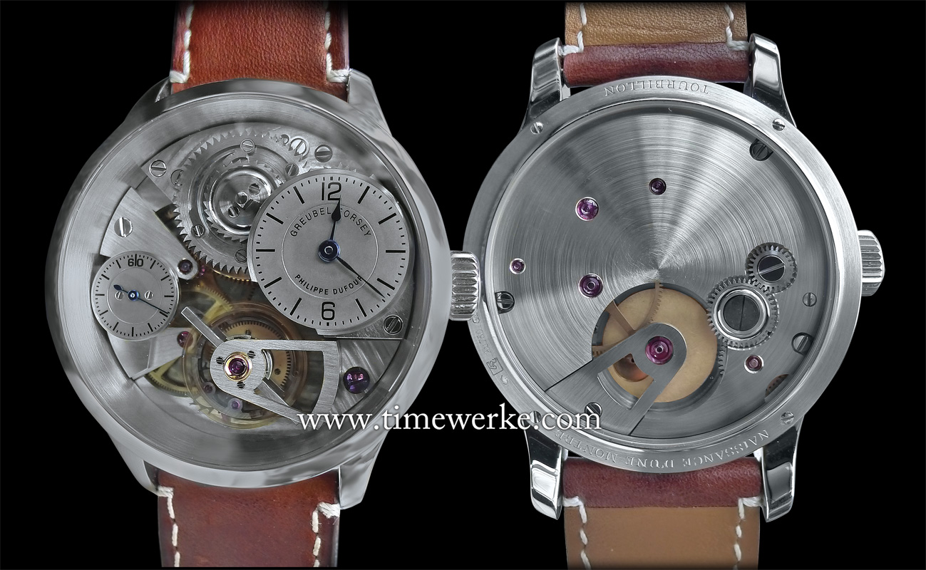 "The first watch of the Le Garde Temps – Naissance d'une Montre is this prototype or ""school watch"" that was made by Michel Boulanger under the watchful eyes of master watchmakers Philippe Dufour, Robert Greubel and Stephen Forsey. On 30 May 2016, this montre école (school watch) went under the hammer for US$1.46 million at Christie's ""Important Watches"" auction in Hong Kong. All proceeds will go to the Time Aeon Foundation and future Naissance d'une Montre projects. Even the buyer's premium has been donated by Christie's to the Time Aeon Foundation. Photo: © TANG Portfolio / TimeWerke. Elfa / Timmy. 2015/2016."