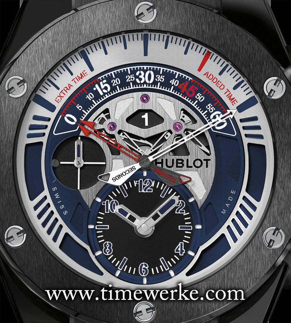 "Hublot Big Bang Unico Retrograde Chronograph UEFA EURO 2016. The chronograph counter for use during football matches is from 10 o'clock to 2 o'clock. There are indications for ""added time"", from the 45th to 60th minute, and for ""extra time"" from ""0"" to ""15"" at the beginning of the chronograph minute scale. Regular time is shown on the sub-dial at 6 o'clock. Photo: © Hublot"