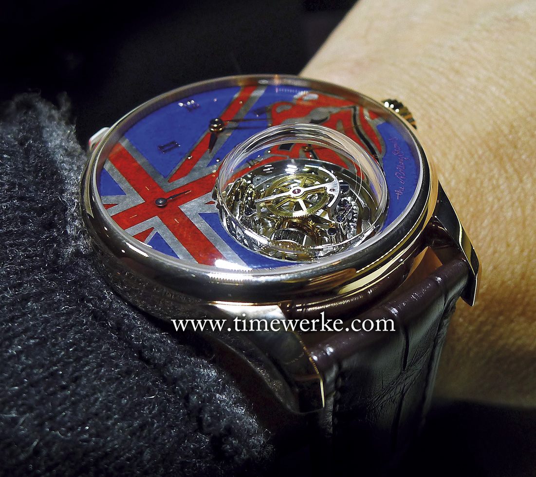 "This is not a ""Brexit"" watch. The Zenith Academy Christophe Colomb Tribute to the Rolling Stones is part of a series of watches dedicated to the brand's partnership with this British rock band that began in 2014. It was unveiled in March 2016 at the time when the Rolling Stones were in Cuba for their performance at Havana's Ciudad Deportiva. Photo: © TANG Portfolio. Elfa / Timmy."