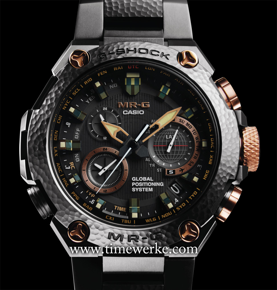 "Casio G-Shock MRG-G1000HT Hammer Tone. Limited to 300 pieces, this timepiece commemorates the 20th anniversary of the MR-G (1996 to 2016). The decorations on the bezel and parts of the bracelet are created with the tsuiki metalworking technique made by Japanese master craftsman Bihou Asano. The bezel and bracelet have been applied with Japanese ""Oboro-gin"" (a silver-grey colour) finish resulting in a distinctive lustre. The screws and buttons have the ""Akagane"" or copper (red gold colour) finish for the deep brilliance. Photo: © Casio."