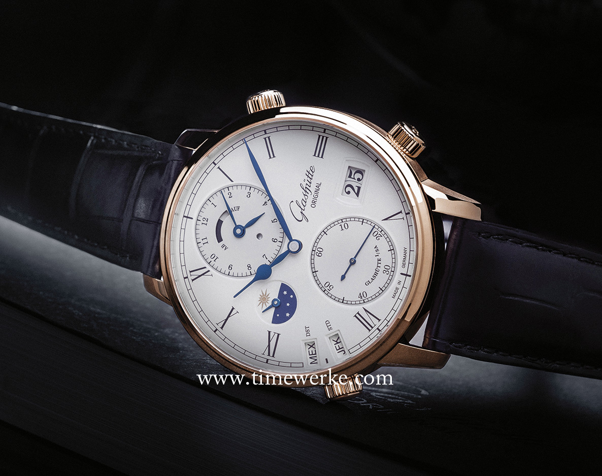 Glashütte Original Senator Cosmopolite. Introduced in 2015, it features the brand's in-house Manufacture Calibre 89-02 automatic movement which is made up of around 430 components. Photo: © Glashütte Original