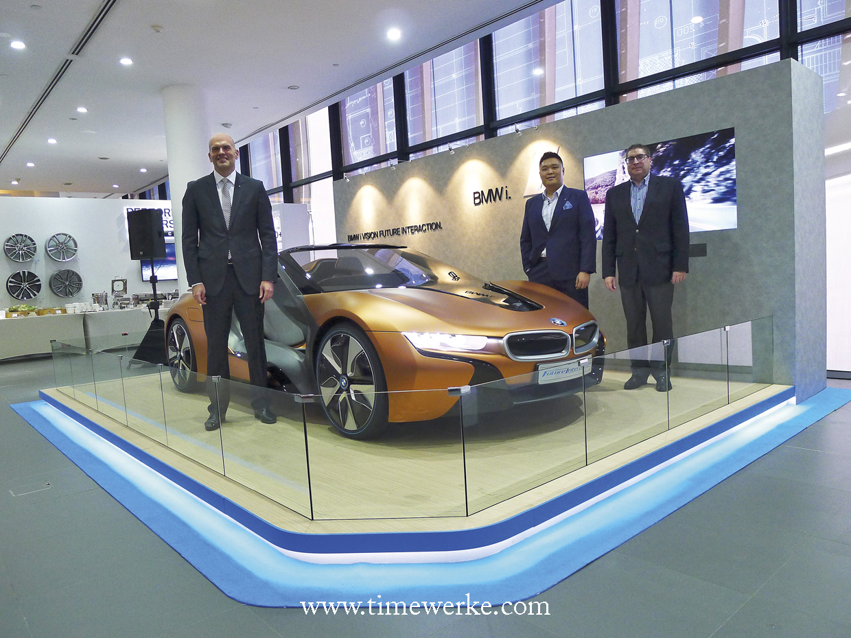 The BMW i Vision Future Interaction Concept Car made in the showroom of Performance Motors Limited. From left-to-right: Axel Pannes (Managing Director, BMW Group Asia), Harry Sze (Creative Director, Automotive, Designworks) & Horst Herdtle (Managing Director, Performance Motors Limited). Photo: © TANG Portfolio. Elfa / Timmy. 2016
