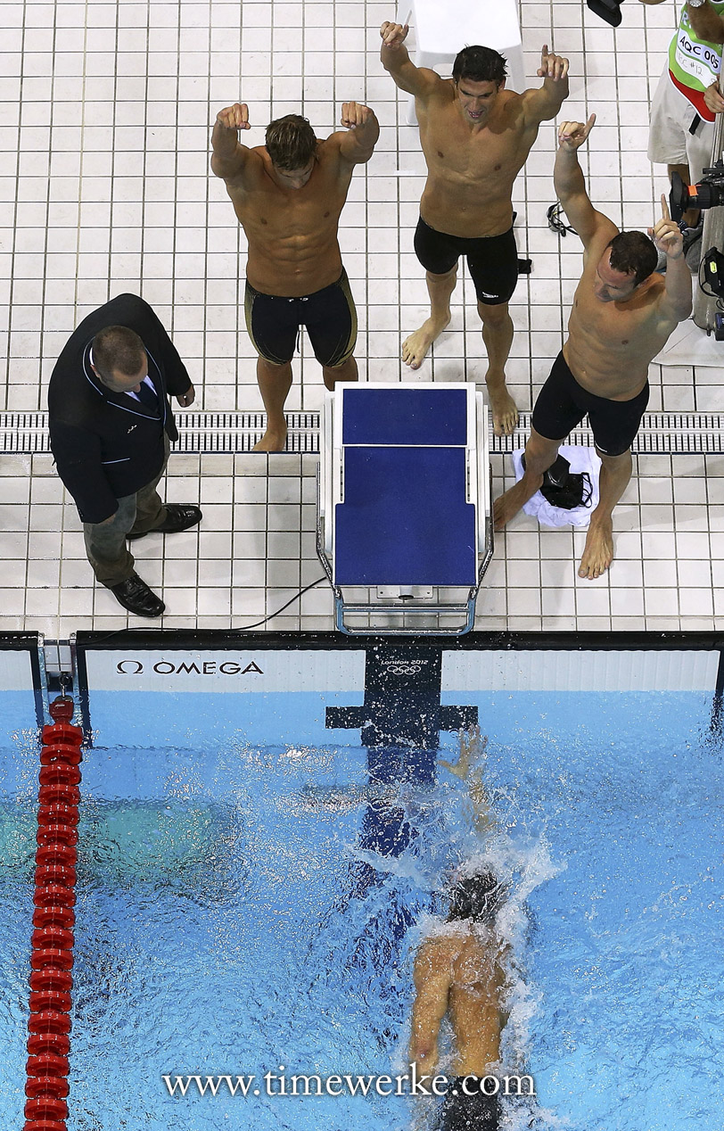 A swimmer about to complete his final lap at the 2012 Olympic Games in London. Can you spot Michael Phelps? Photo: © Omega