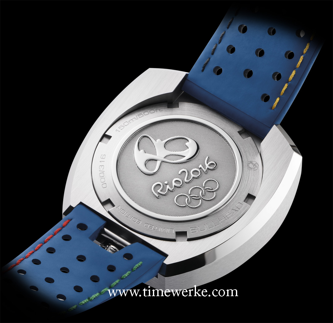 """The case back of the Omega Seamaster Bullhead """"Rio 2016"""" is stamped with the Rio 2016 Olympic Games logo. Photo: © Omega."""