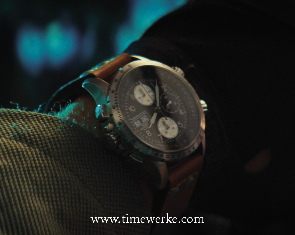 On Liam Hemsworth's wrist in Independence Day: Resurgence: the 44mm Hamilton Khaki X-Wind automatic chronograph. The pushers are built to form an X. It features the day and date displays and the drift angle calculator for pilots to measure crosswinds. Photo: courtesy of Hamilton / 20th Century Fox.