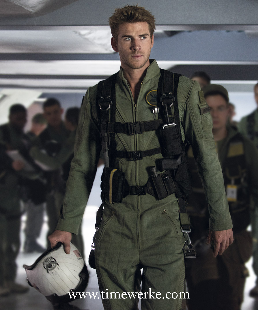 In the movie Independence Day: Resurgence, Liam Hemsworth plays ace space pilot Jake Morrison and he sports a Hamilton Khaki X-Wind automatic chronograph. Photo: courtesy of Hamilton / 20th Century Fox.