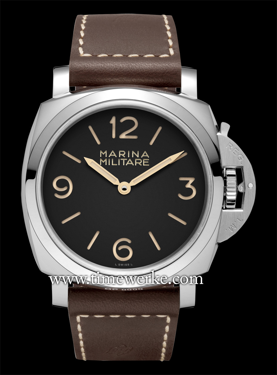 The PAM 673, Panerai Luminor 1950 3 Days Acciaio, houses the P.3000 manual-winding movement in its 47mm case and is water-resistant to 10 bar (approximately 100m). Limited to 1,000 pieces. Photo: © Panerai