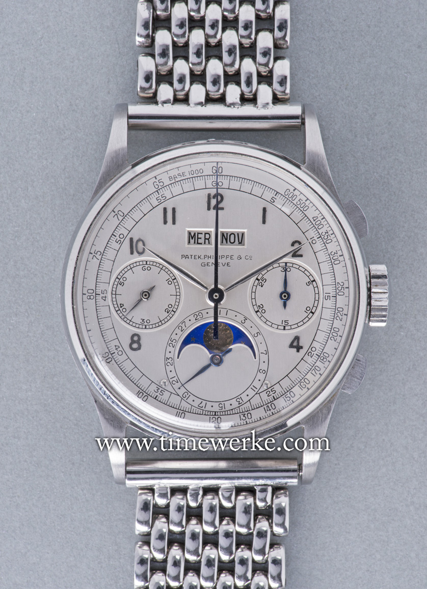 Patek Philippe Reference 1518 in stainless steel. Made during the 1940s and 1950s, this Reference 1518 is valued at more than CHF3 million and is offered for sale in November 2016 at The Geneva Watch Auction: Four by Phillips in Association with Bacs & Russo. Photo: © Phillips in Association with Bacs & Russo.