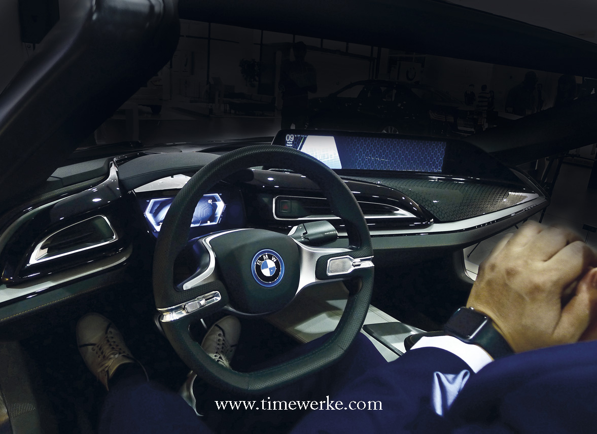 BMW's i Vision Future Interaction Concept Car will allow drivers and passengers to view content shown in the vehicle's central panorama display from BMW's Open Mobility Cloud using the BMW Connected App on their smartphones and other digital end devices. Could the smartwatch be a possibility? Here, we could not help but notice the smartwatch which is probably an Apple watch on Harry Sze's wrists. Harry Sze is Creative Director, Automotive at Designworks and is based in Shanghai, China. Designworks is part of the BMW Group. Photo: TANG Portfolio. 2016.