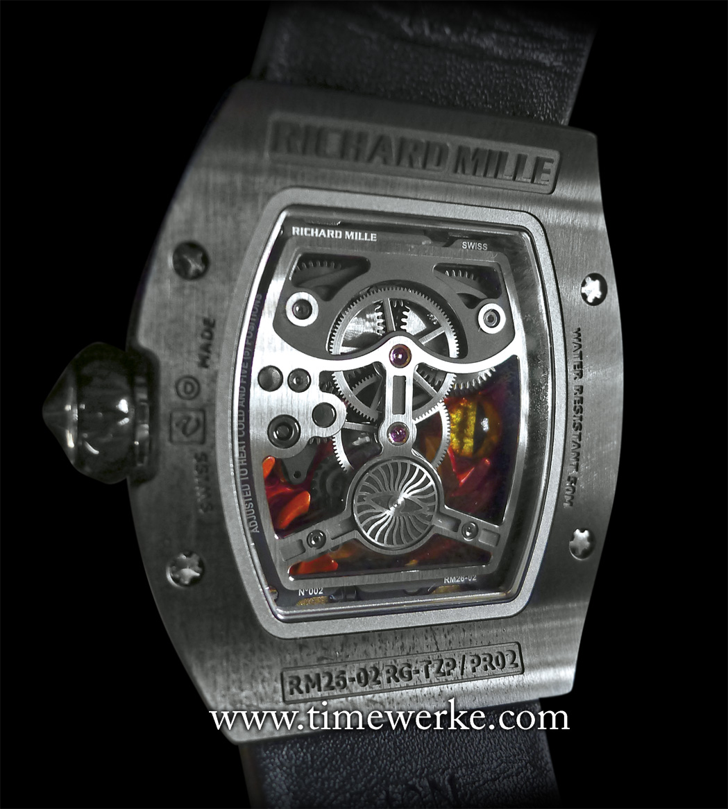 Case back of Richard Mille's Tourbillon RM 26-02 Evil Eye. The burning flames and evil eyes (one on the front, the other at the back) are Grand feu enamel and micro-lacquer artwork made by Olivier Vaucher. Photo: © TANG Portfolio.